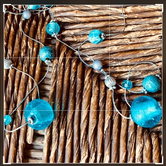 Turquoise and Blue Glass Long Pendant Silver Necklace